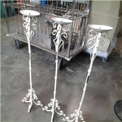 """3 decorative metal 39"""" candle stands"""