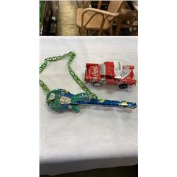 2 TIN CAN HAND CRAFTED CAR AND GUITAR