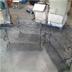 "Three decorative metal three tier shelves each 23"" x 28"""