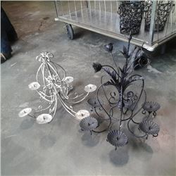 2 decorative metal candle chandeliers
