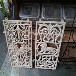 "2 cast iron panels 27"" x 11"""
