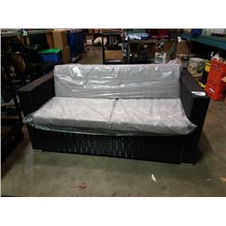 BRAND NEW UV/ WATER PROTECTED RATTAN LOVE SEAT W/ LIGHT GREY CUSHIONS - RETAIL $599