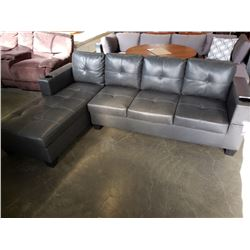 BRAND NEW GREY AIR LEATHER 2 PC SECTIONAL SOFA W/ CUPHOLDERS, AND REMOVABLE PILLOW BACKS, RETAIL $13