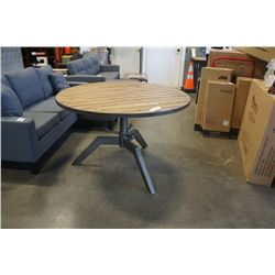 BRAND NEW INDUSTRIAL DINING TABLE W/ RECLAIMED WOOD TOP AND HEAVY METAL BASE - RETAIL $2199