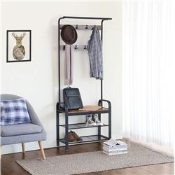 """BRAND NEW MODERN INDUSTRIAL STYLE FOYER STAND W/ COAT RACK AND BENCH  - RETAIL $199.99  28.5"""" x 13.5"""