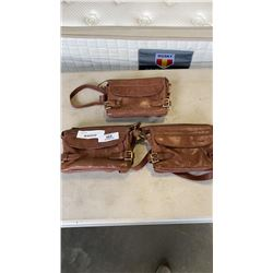 3 ONE FATED KNIGHT GENUINE LEATHER BAGS - ALL NEED ZIPPER REPAIRS