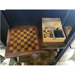 LEATHER CHESS BOARD W/ PIECES - COMPLETE