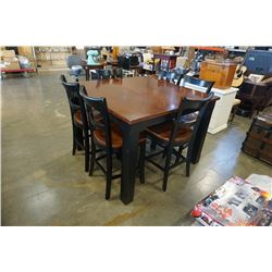MODERN BAR HEIGHT TABLE W/ EXTENSION AND 6 SOLID WOOD CHAIRS