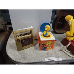 VINTAGE PLAYSHOOL SESAME STREET JACK IN THE BOX AND FISHER PRICE RADIO