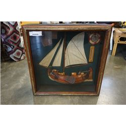 24 INCH NAUTICAL SHADOWBOX W/ THERMOMETER