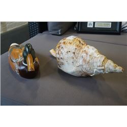 WOODEN DUCK DECOY AND CAST CONCH SHELL
