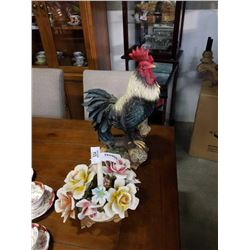 CAPIDEMONTE LARGE FLOWER BASKET - HAS CHIPS AND LARGE ROOSTER FIGURE