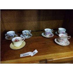 6 ASSORTED ANTIQUE CUPS AND SAUCERS