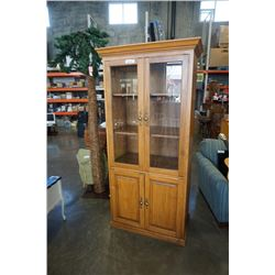 GLASS DOOR DISPLAY CABINET APPX 77 INCHES TALL