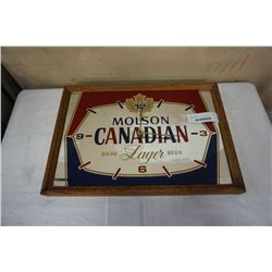 MOLSON CANADIAN LAGER BEER MIRRORED CLOCK ADVERT