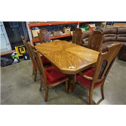 WALNUT DINING TABLE WITH 6 CHAIRS AND LEAF