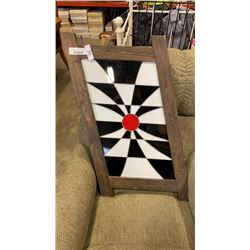 BLACK WHITE AND RED WOOD FRAMED LEADED GLASS HANGING ART
