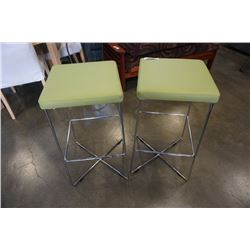 2 GREEN LEATHER LOOK BAR STOOLS