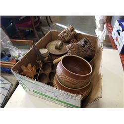 POTTERY BOWLS, WOOD CARVINGS, CAST IRON PAN