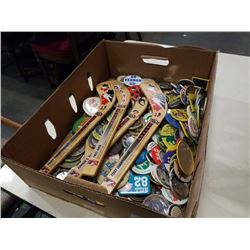 BOX OF PINS AND MINI HOCKEY STICKS