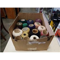 BOX OF YARN ON SPOOLS