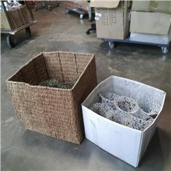 Woven box and box of decorative metal planters