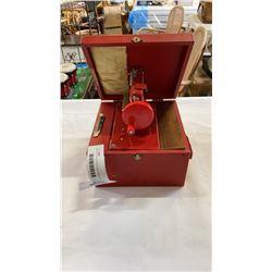 MINIATURE RED SEWING MACHINE IN CASE