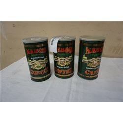 3 vintage Nabob coffee tins