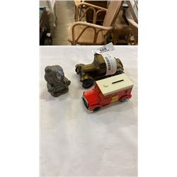 3 COIN BANKS - CAR TRUCK AND CLOWN