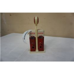 1993 COCA COLA SALT AND PEPPER SHAKERS ON STAND