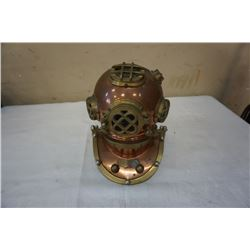 9 INCH VINTAGE BRASS AND COPPERS DIVERS HELMET