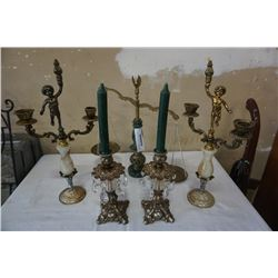 STONE AND METAL SCALE, 2 CANDELABRAS AND 2 CANDLESTICKS