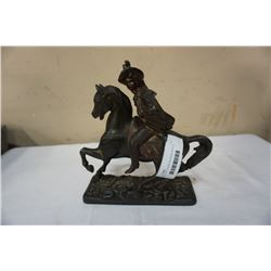 METAL CAST FIGURE ON HORSE APPX 10 INCHES TALL