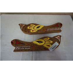 2 FIRST NATIONS CARVINGS BY LAWRENCE DINGWALL, POWELL RIVER BC