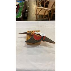 NATIVE CARVED HUMMING BIRD AND NATIVE COASTER SET