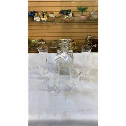 CRYSTAL DECANTER AND 6 CRYSTAL GLASSES