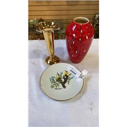 ROYAL WINTON GRIMWADES VASE, RED VASE AND COLLECTOR PLATE