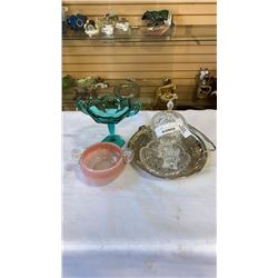 LOT OF CRYSTAL, ART GLASS AND SILVER PLATE