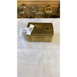 SMALL BRASS TRUNK 6 INCHES WIDE, 4 INCHES TALL, 4 INCHES DEEP