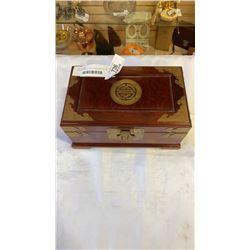 ROSEWOOD EASTERN JEWELLERY BOX W/ BRASS FITTINGS