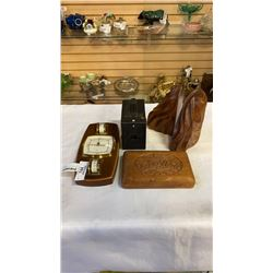 WOOD BOOKENDS, ELEPHANT BOX, BROWNIE CAMERA AND BAROMETER