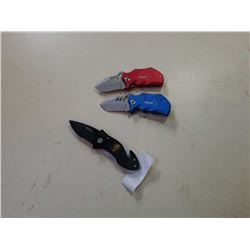 3 FOLDING POCKET KNIVES, WARTECH AND BOKER