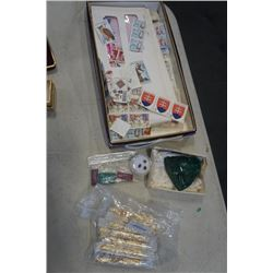 GEMSTONES, FOIL VIALS AND TRAY OF STAMPS