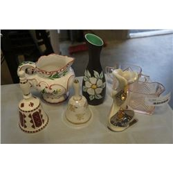 CHINA BELLS, SIGNED VASES AND PITCHER AND DEPRESSION GLASS CREAM AND SUGAR
