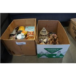 2 BOXES OF TINS AND DECORATIONS