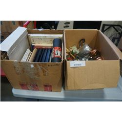2 BOXES OF ESTATE COLLECTABLES AND PICTURE FRAMES
