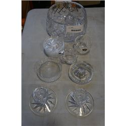 CRYSTAL COASTERS, ASH TRAYS, BELL, BOWLS, CANDLESTICKS