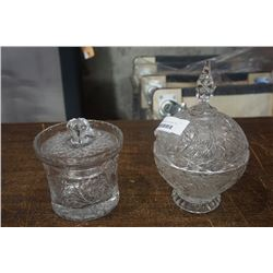 CRYSTAL LIDDED BISCUIT BARREL AND LIDDED CANDY DISH