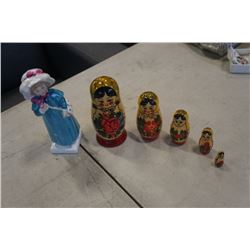 ROYAL DOULTON CARRIE FIGURE AND 5 PIECE RUSSIAN NESTING DOLL