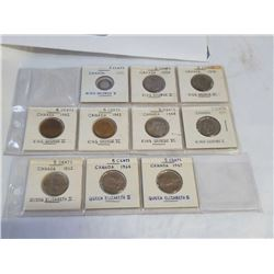 10 CANADA 5 CENT COINS - 1912 SILVER, 1924 SILVER, 1939, 1942, 1943, 1949, 1951, 1962, 1964, 1967